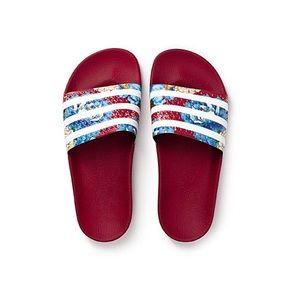 Adidas ADILETTE Red Floral Flip Flops (Size 5)